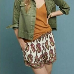Anthropologie Scarf Printed Paisley Shorts White S